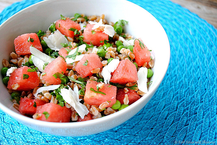 Eat Yourself Skinny » Summer Pea, Watermelon and Farro Salad