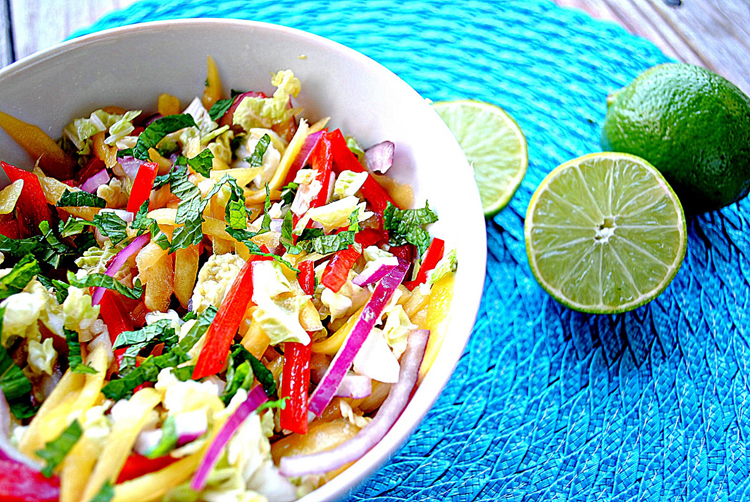 Eat Yourself Skinny » Mango Slaw with Cashews and Mint