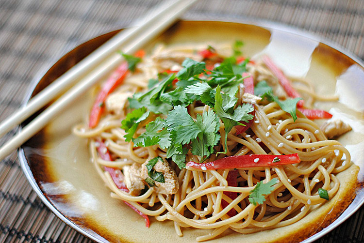 Asian Peanut Noodles with Chicken - Eat Yourself Skinny