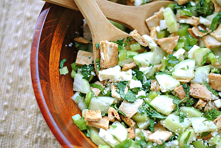 Eat Yourself Skinny » Pita Bread Salad with Cucumber, Mint & Feta