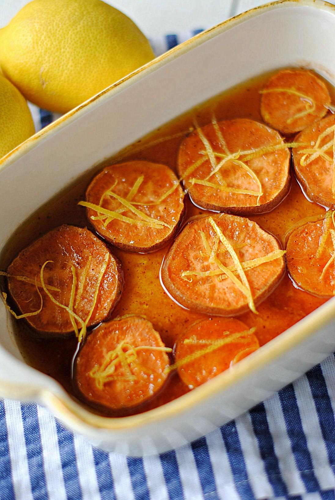 Lemon and Cinnamon Sweet Potatoes - Eat Yourself Skinny
