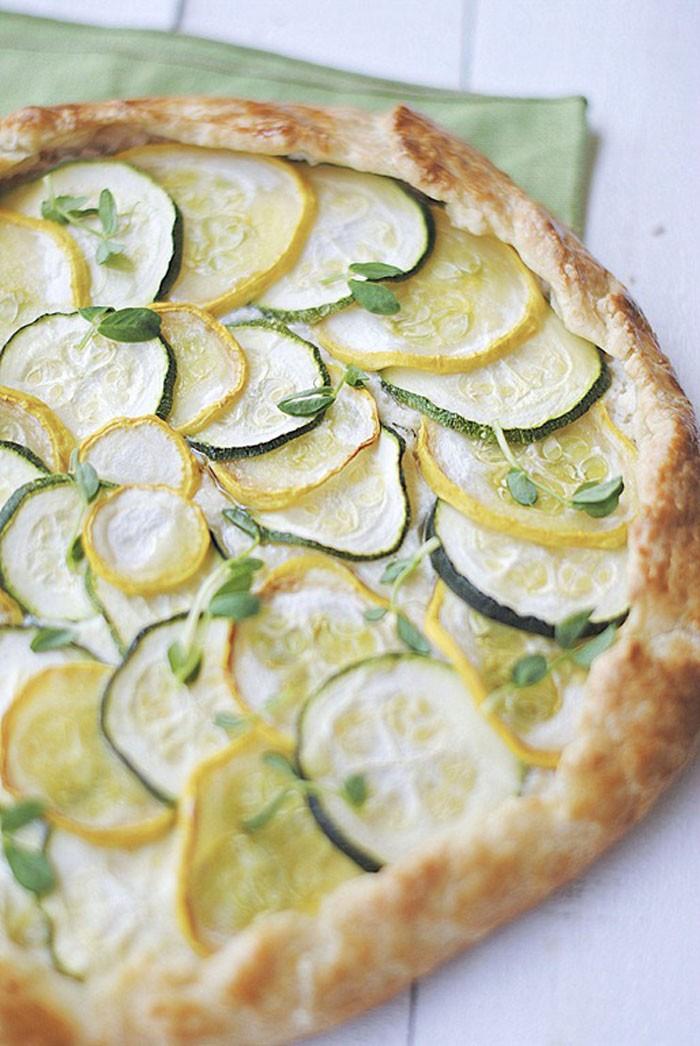 Zucchini, Squash & Ricotta Galette - Eat Yourself Skinny