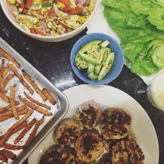 Girls night watching bacheloretteabc with turkey burgers grilled veggies andhellip