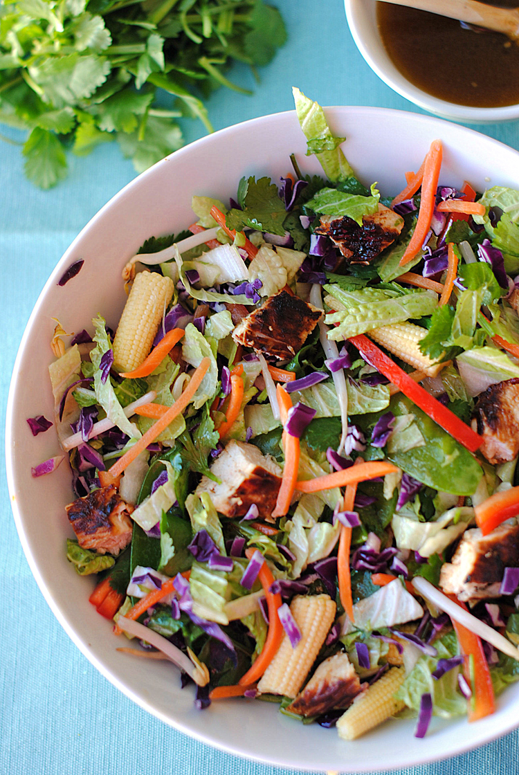 Asian Chicken Salad with Ginger-Sesame Dressing - Eat Yourself Skinny