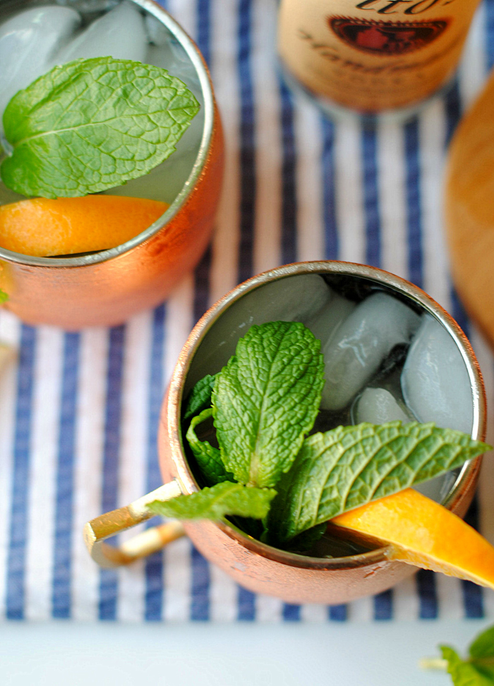 My FAVORITE Southern Moscow Mule made a little healthier with soda water and fresh citrus juice from oranges and limes for the perfect weekend cocktail!