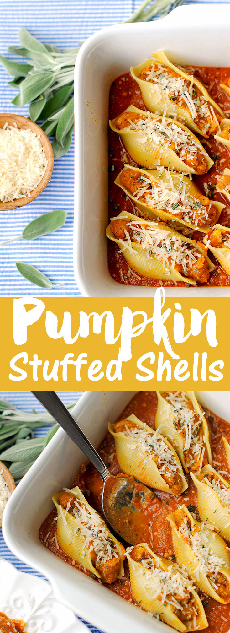 {Healthy} Pumpkin and Sage Stuffed Shells, less than 300 calories per serving! | Eat Yourself Skinny