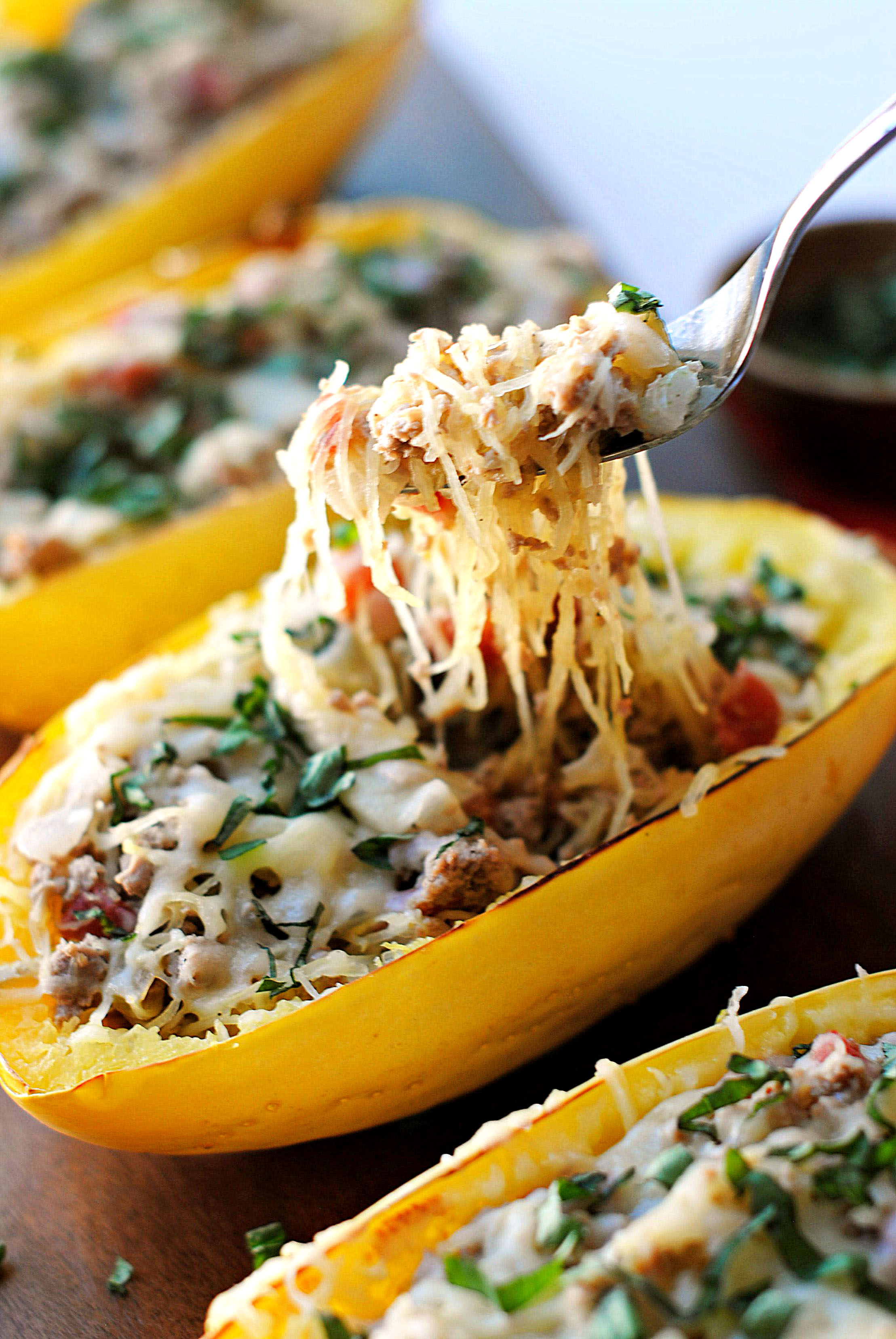 Spaghetti Squash Boats With Spicy Sausage Eat Yourself Skinny