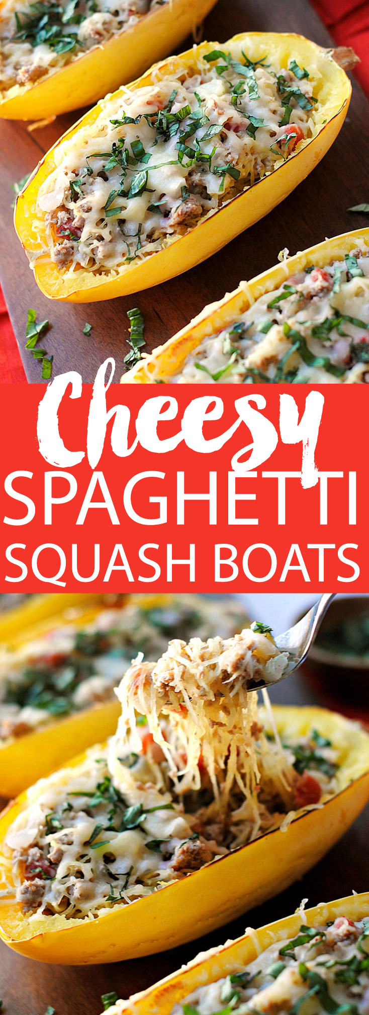 Cheese Spaghetti Squash Boats with Spicy Sausage, a family favorite! | Eat Yourself Skinny