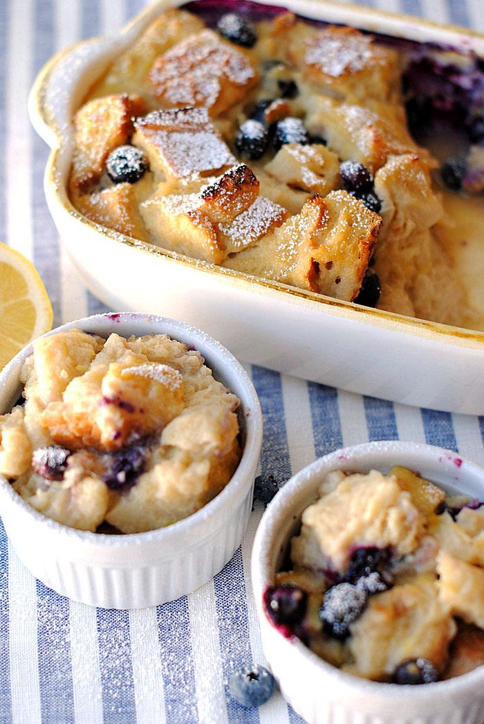 Pudim de pão de limão e mirtilo | Coma-se magro
