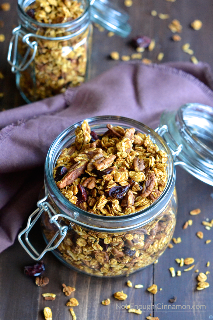 Easy Pumpkin Granola that is gluten-free, sugar-free and vegan!