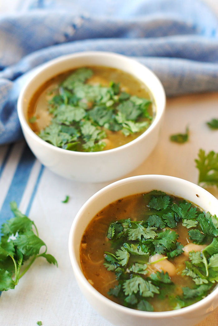 Slow Cooker Chicken and Green Chile Soup | Eat Yourself Skinny