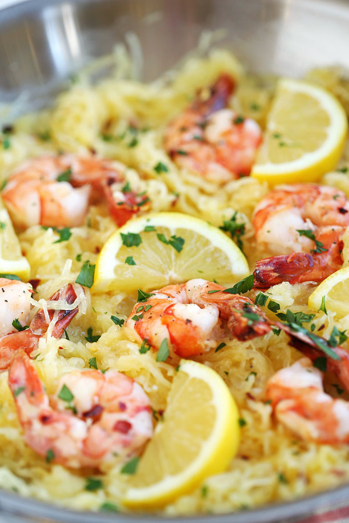 Lemon and Herb Spaghetti Squash with Roasted Shrimp | Eat Yourself Skinny