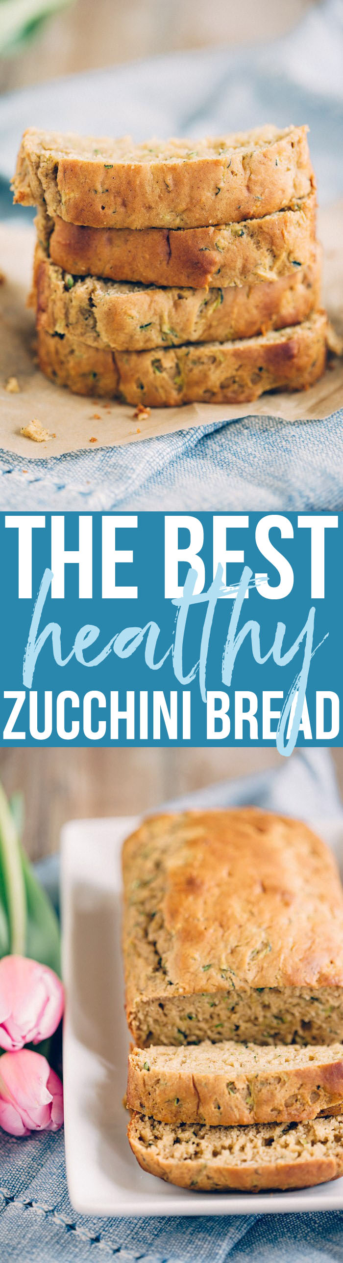 THE BEST Healthy Zucchini Bread lightly sweetened and super moist! eat-yourself-skinny.com