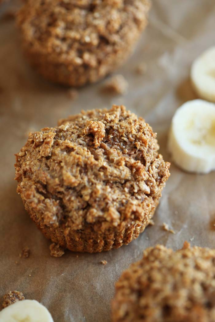 These super moist Banana Nut Bran Muffins are healthy, easy to make and are perfect to grab on-the-go for an easy, nutritious breakfast! eat-yourself-skinny.com
