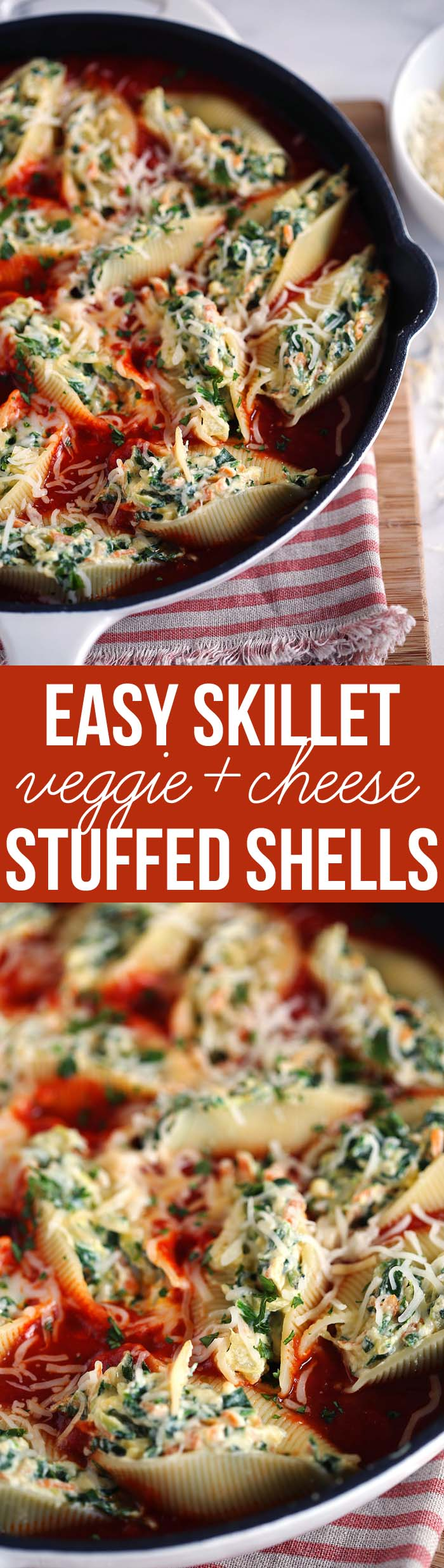 Our family's FAVORITE Skillet Veggie and Cheese Stuffed Shells - the perfect weeknight meal that is delicious and easy to freeze! eat-yourself-skinny.com