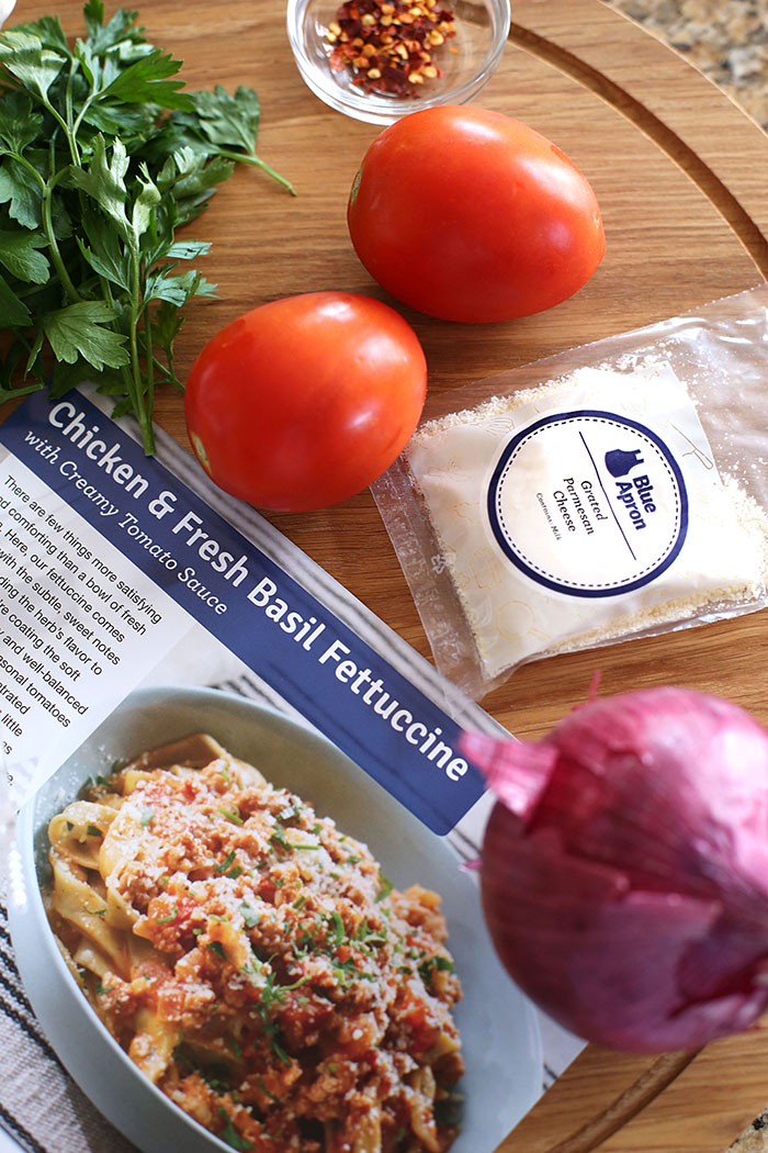 In the kitchen with Blue Apron - Chicken and Fresh Basil Fettuccine