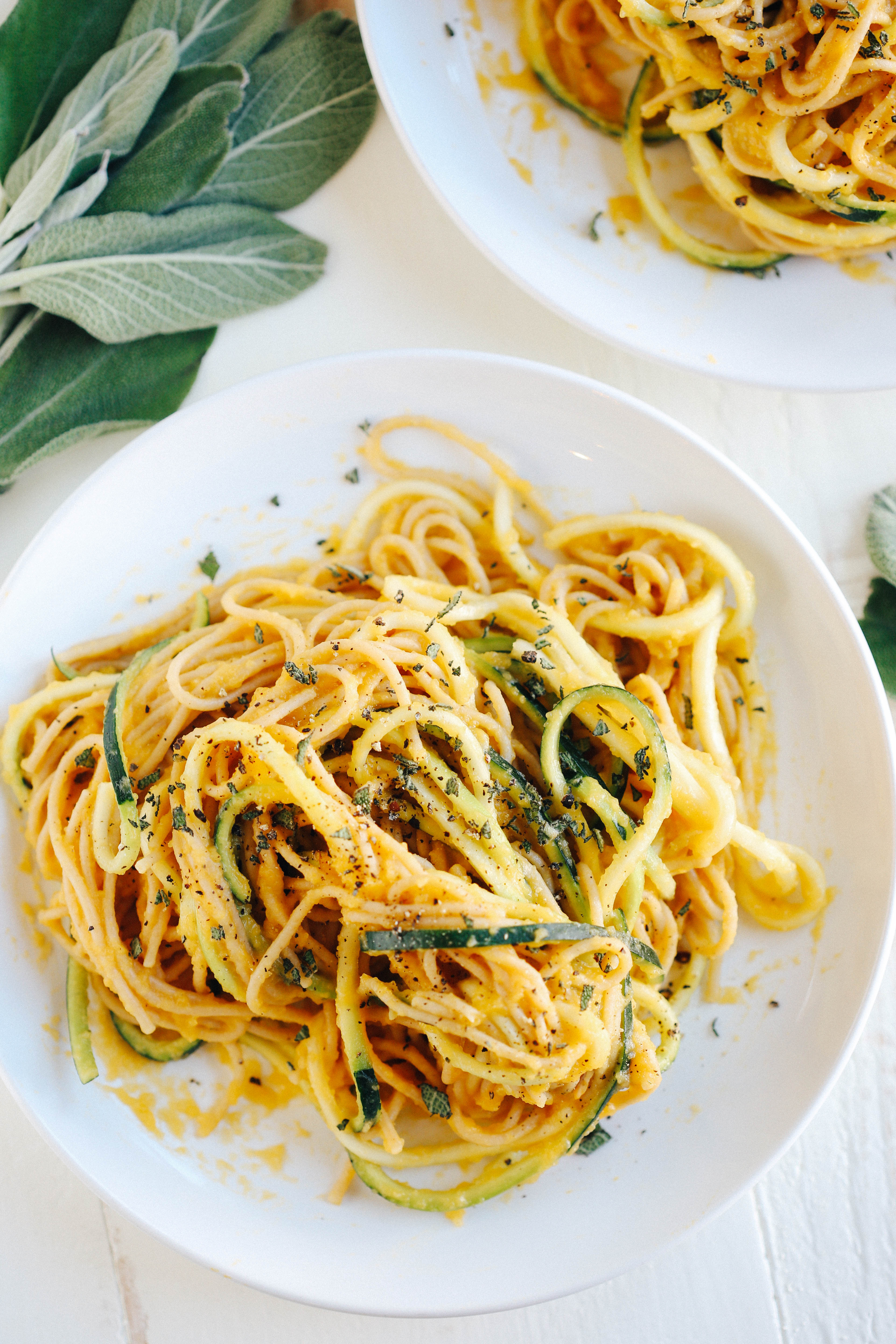 Butternut Squash Sage Spaghetti With Zucchini Noodles