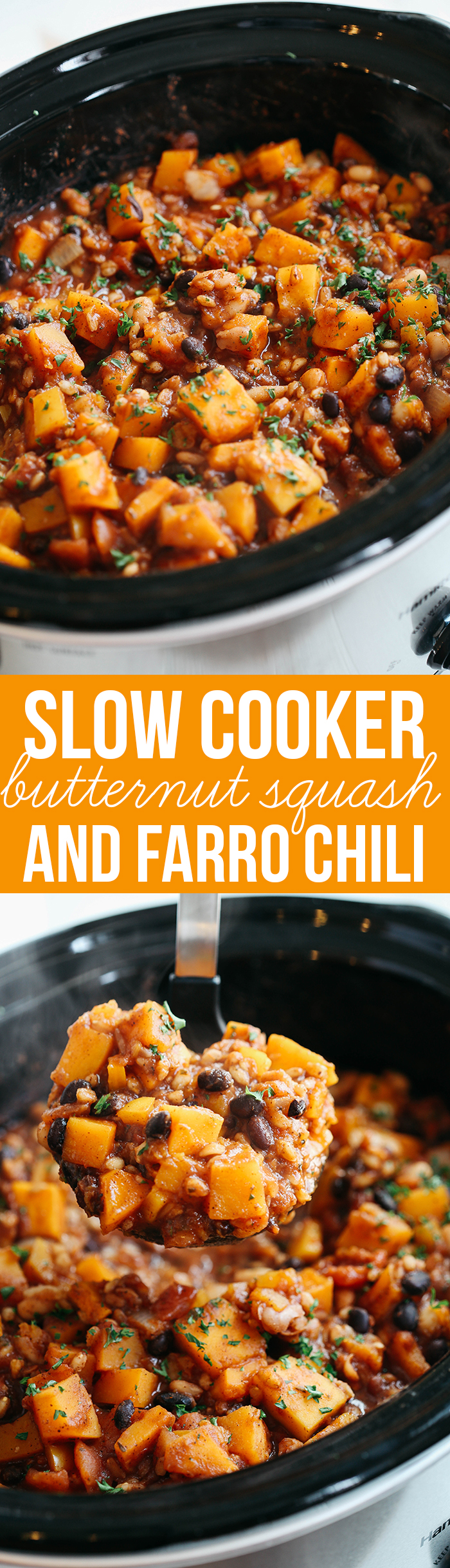 This Slow Cooker Butternut Squash and Farro Chili is healthy, hearty and the perfect delicious recipe to warm you up in the colder months!