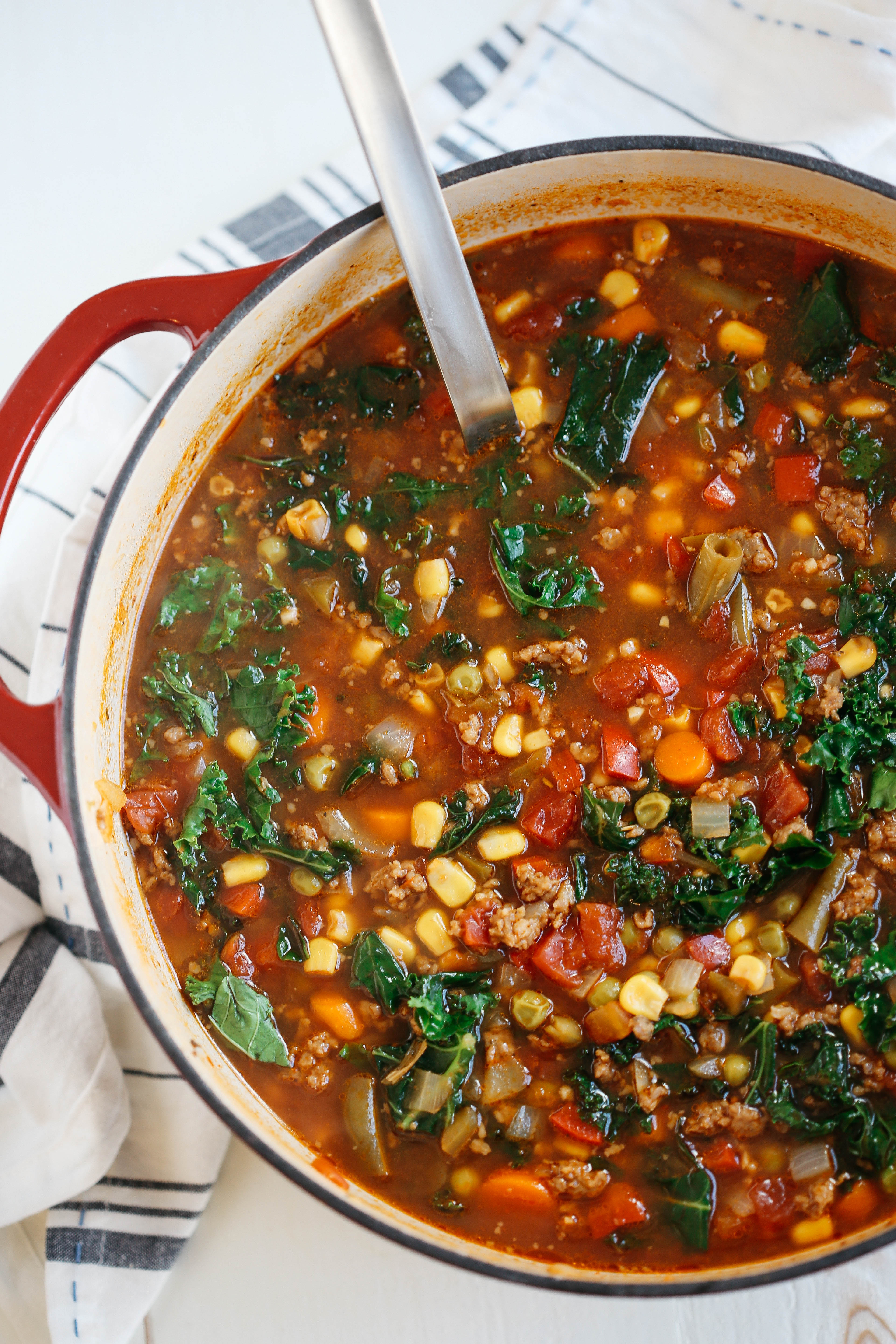 One Pot Spicy Sausage And Kale Soup Eat Yourself Skinny