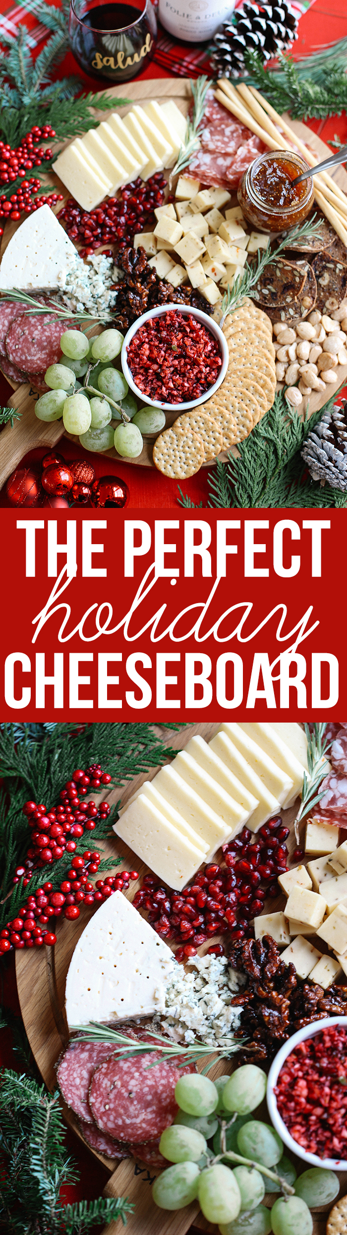Learn how to create the perfect holiday cheese board in just five simple steps with an assortment of cheeses, meats, fruits, nuts, and a variety of spreads!