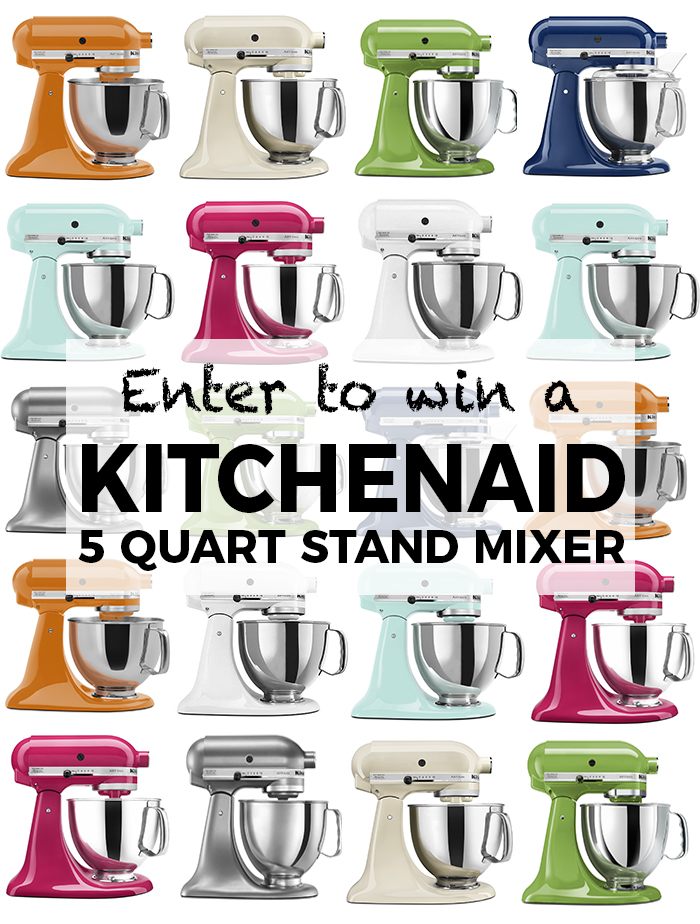 Enter to win a KitchenAid 5-Quart Stand Mixer and start the New Year off right with my favorite staple kitchen item! Winner picks the color of their choice!