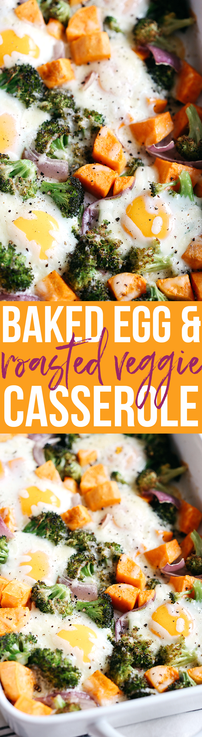 This Baked Egg and Roasted Veggie Casserole is the perfect healthy breakfast that uses up all those leftover veggies in one single dish!