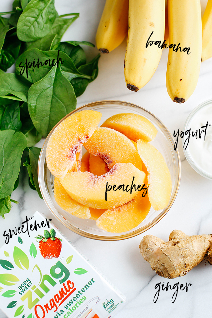 This delicious Ginger Peach Detox Smoothie is sweet, creamy and super refreshing!