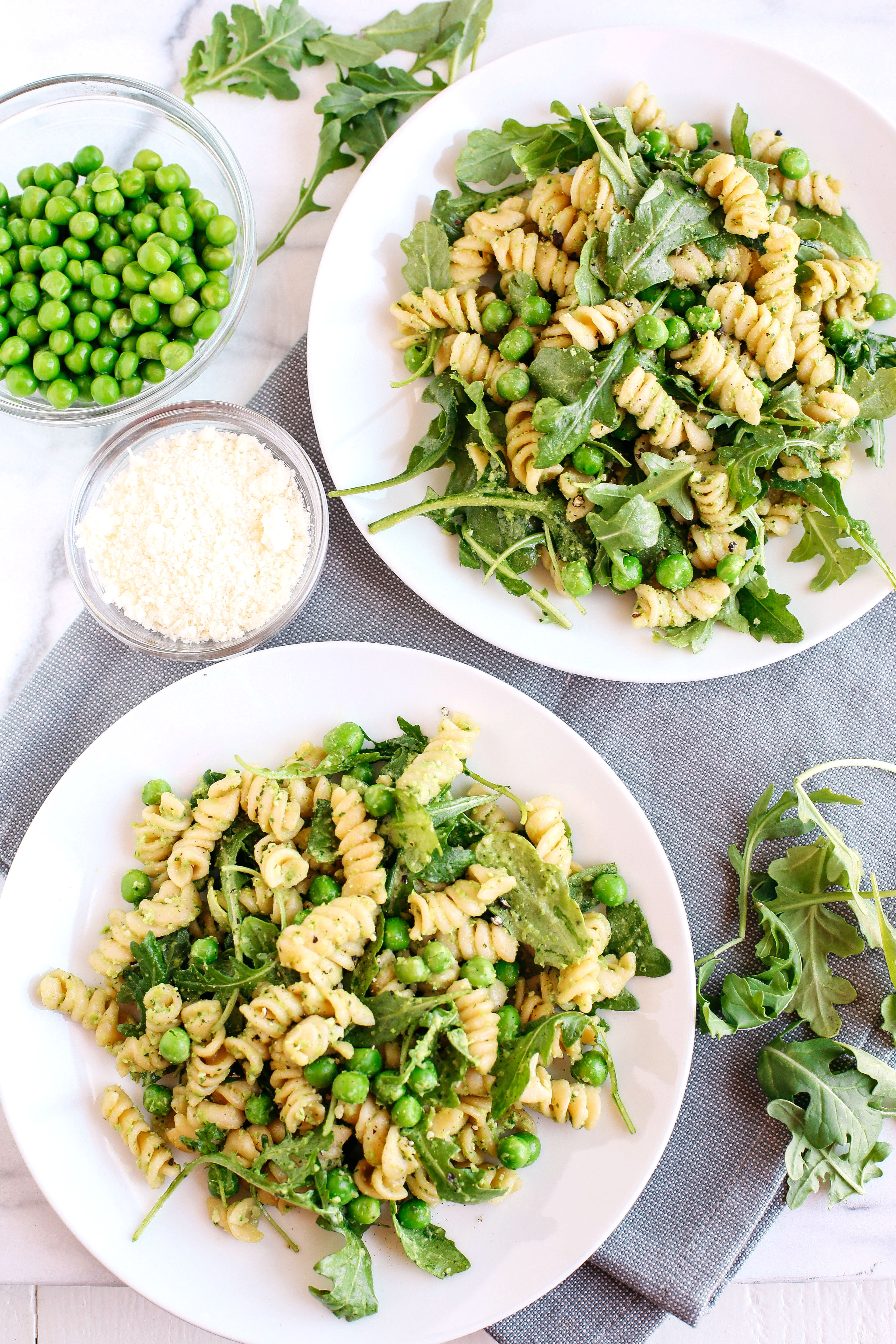 This light and fresh 5 Minute Pea and Arugula Pesto Pasta Salad is the perfect meal or side dish that can easily be made in just minutes!