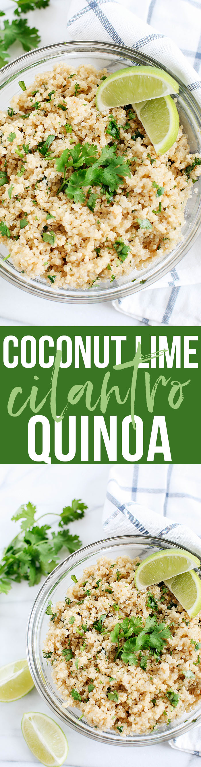 This Coconut Lime Cilantro Quinoa is easily made with just a few simple ingredients and makes the perfect healthy side dish to any meal!