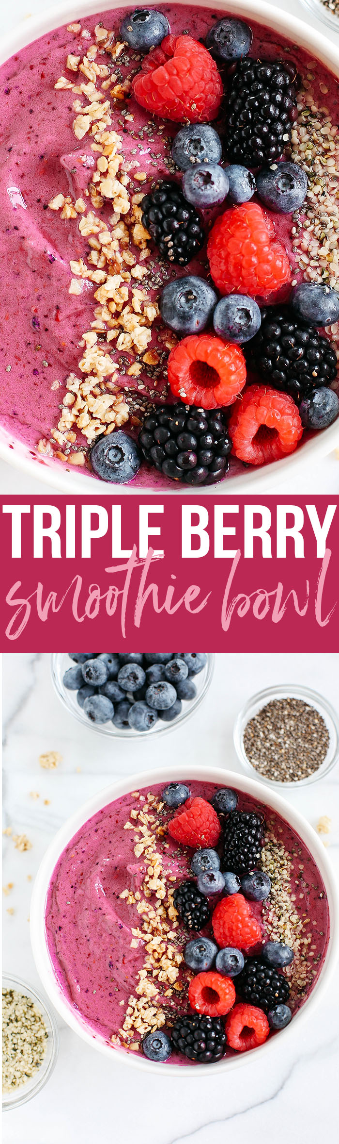 This Triple Berry Smoothie Bowl is creamy, delicious and super EASY to make with a variety of fun toppings and fresh fruit!