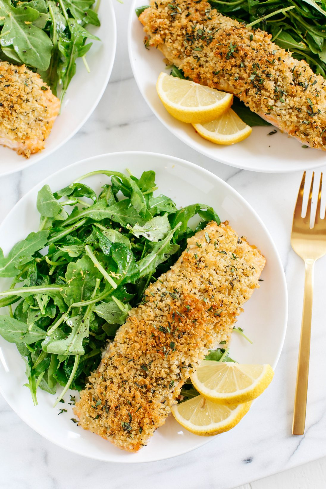 Hummus Crusted Salmon With Lemon Arugula Salad Eat Yourself Skinny