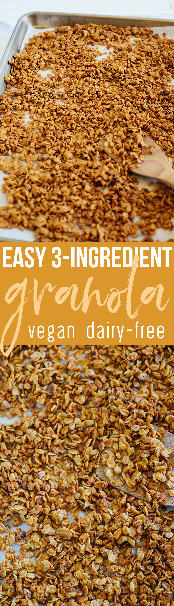 My favorite go-to granola recipe that is EASY to make and only requires three simple ingredients!  The perfect basic recipe that you can make all your own!