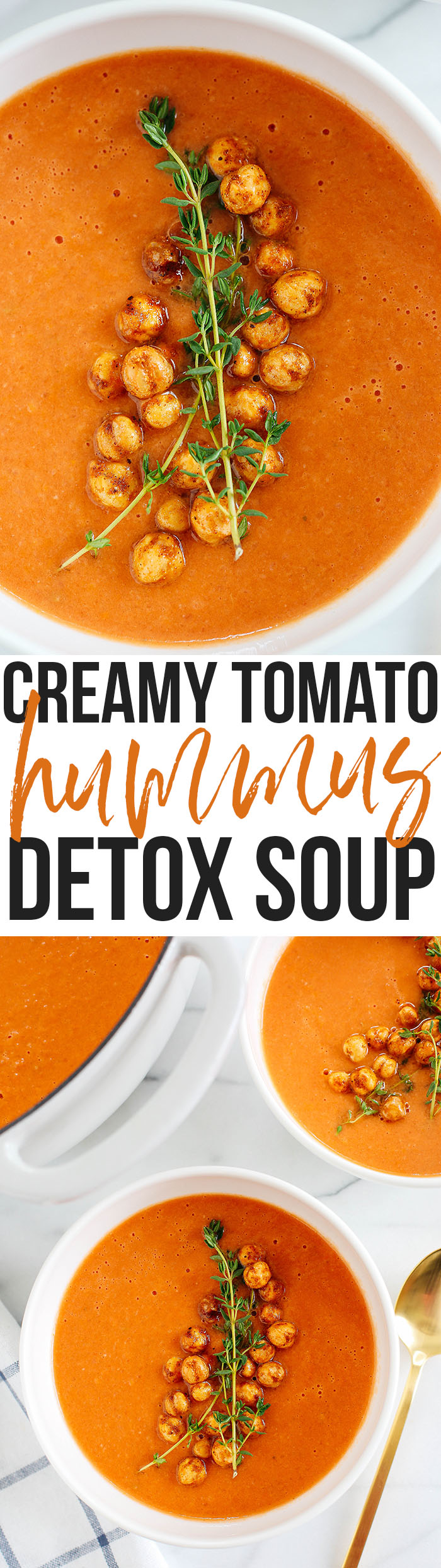 This Creamy Tomato Hummus Detox Soup is the perfect remedy for cold and flu season that is filled with tons of antioxidants and immune-boosting ingredients to keep you healthy all season long!