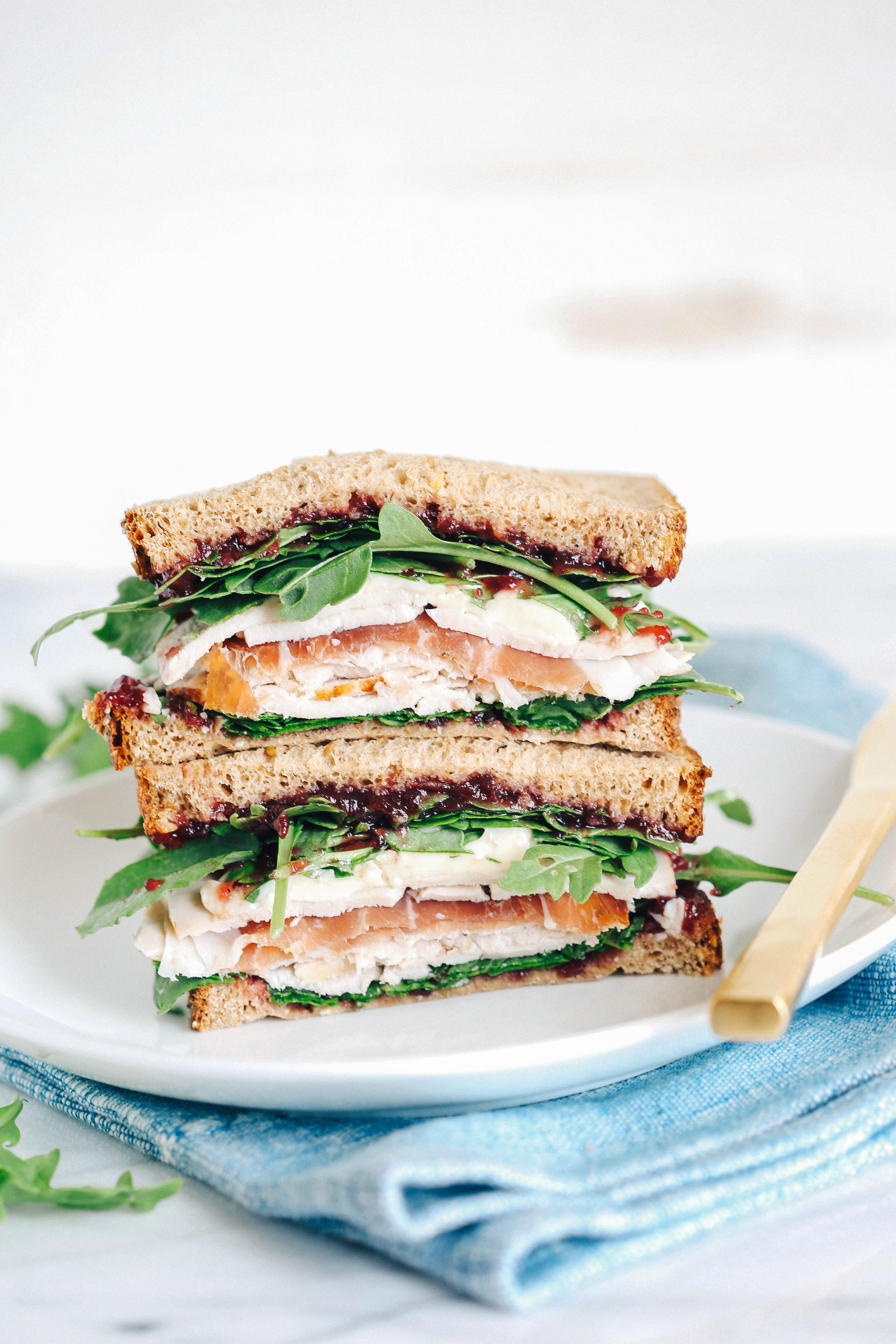 The ULTIMATE Thanksgiving leftover turkey sandwich elevated with delicious prosciutto, creamy brie and tangy cranberry sauce!