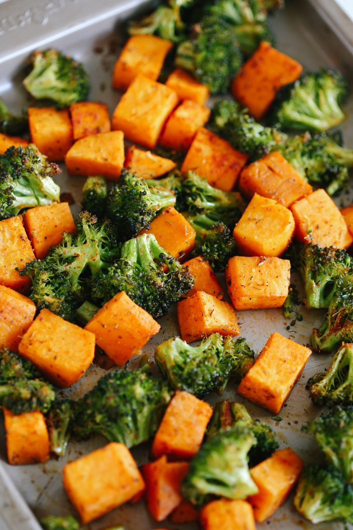 Perfectly Roasted Broccoli and Sweet Potatoes