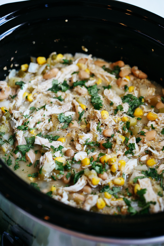 Slow Cooker White Chicken and Quinoa Chili