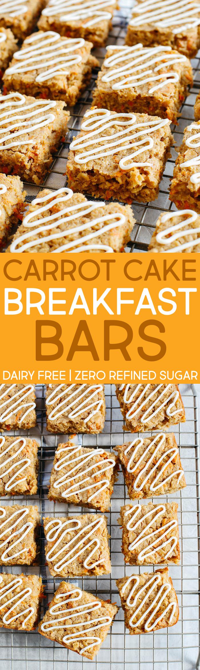 Carrot Cake Oatmeal Breakfast Bars