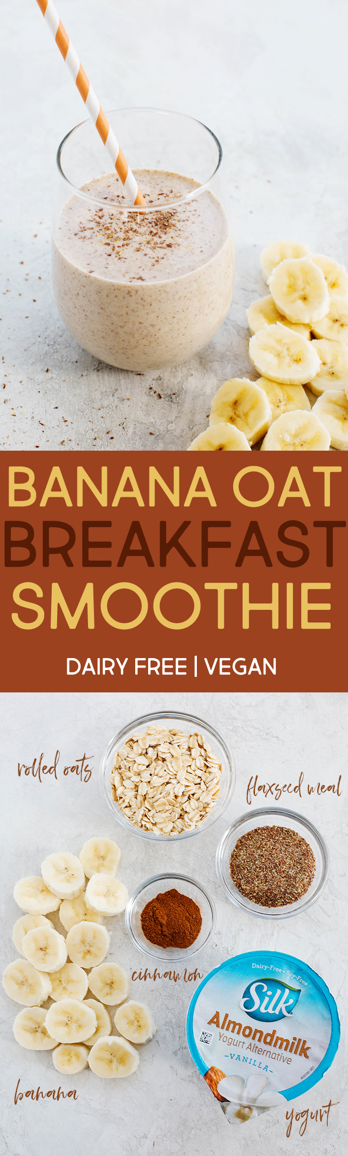 Start your morning off with this thick and creamy Banana Oat Breakfast Smoothie that is healthy, delicious and super quick to make! #dairyfree #vegan