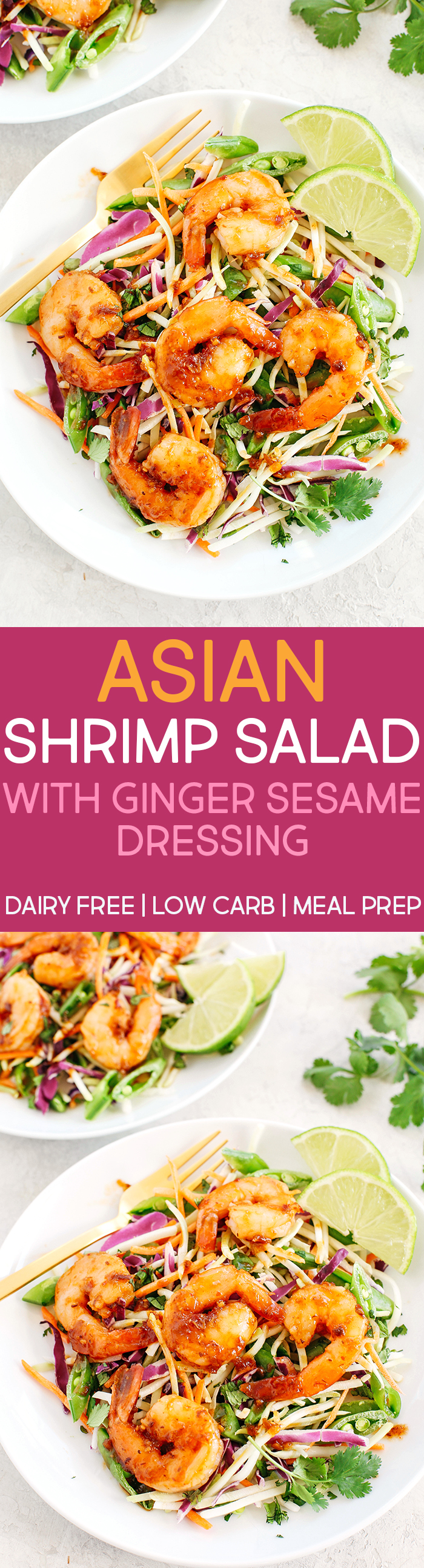 This quick and EASY Asian Shrimp Salad with Ginger Sesame Dressing is complete with all your favorite flavors, crunchy veggies and fresh herbs that can be easily made in just minutes! #dairyfree #lowcarb #mealprep