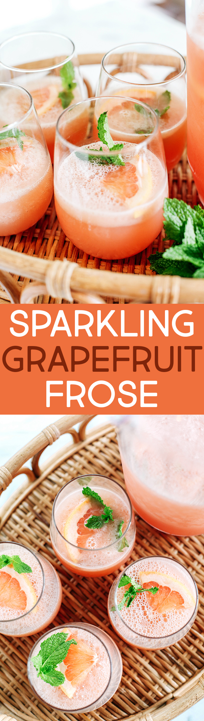 Refreshing Sparkling Grapefruit Frosé that is all natural with zero refined sugar, your favorite bottle of rosé and makes the perfect summer cocktail!