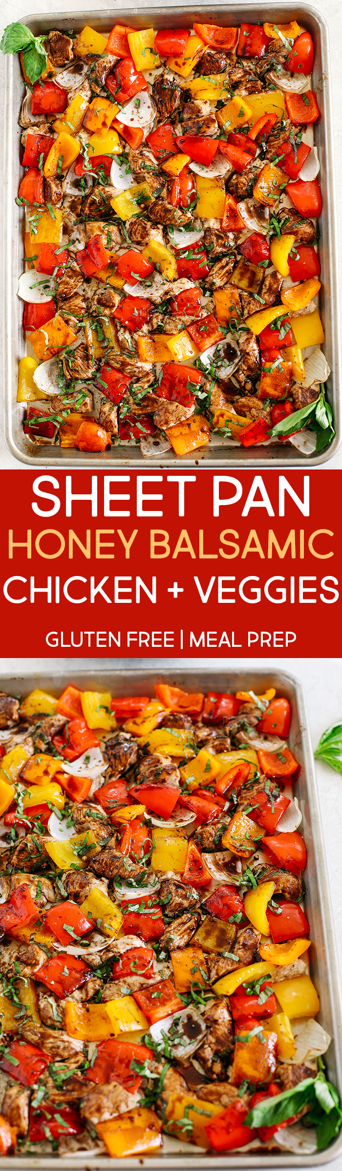 This Sheet Pan Honey Balsamic Chicken and Veggies makes the perfect weeknight dinner that's healthy, delicious and easily made all on one pan in under 30 minutes!  Perfect recipe for your Sunday meal prep too!