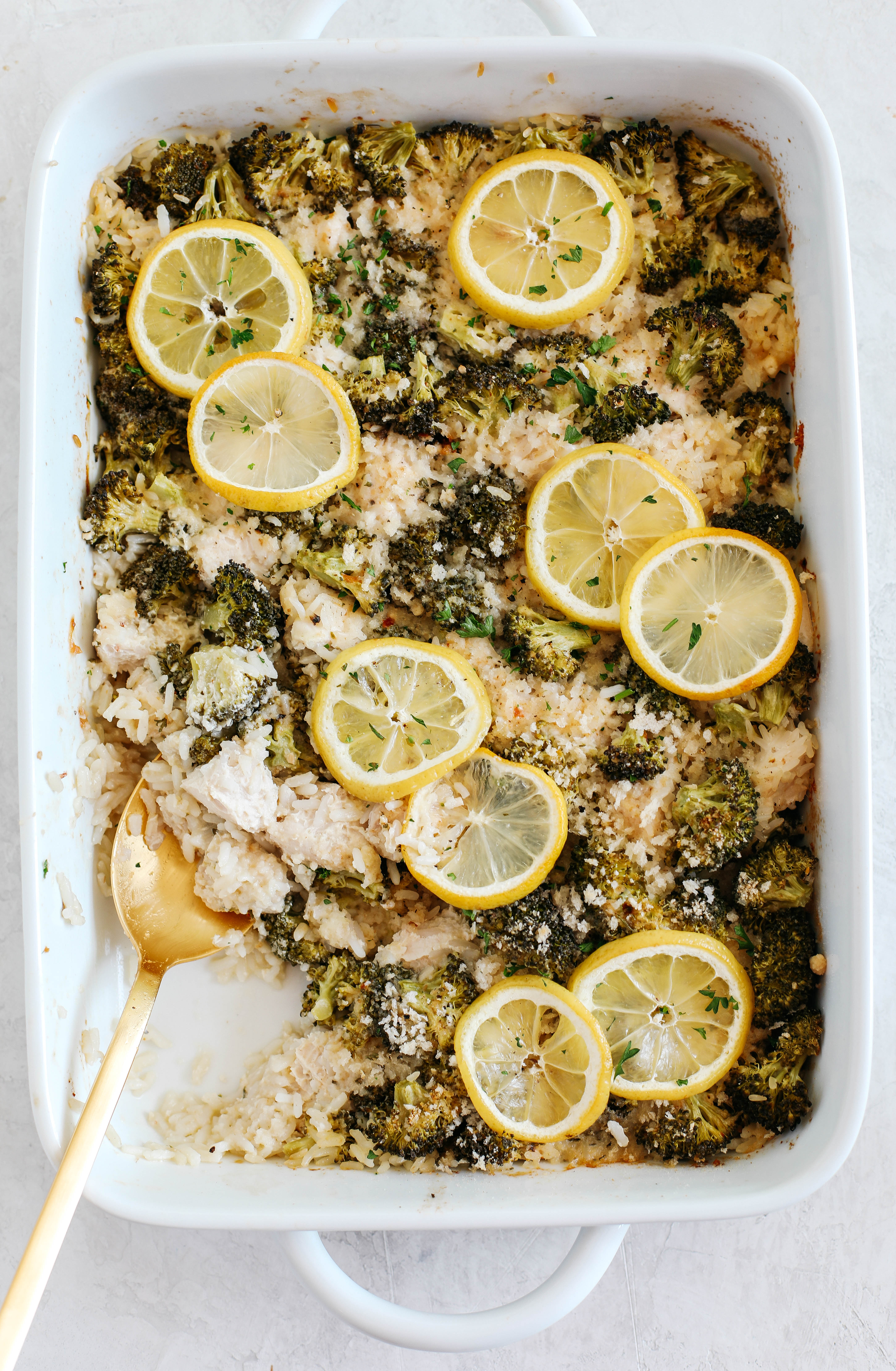 This Creamy Lemon Chicken, Broccoli and Rice Casserole is the perfect weeknight meal that is full of so much flavor and easily made in one dish without pre-cooking anything beforehand!