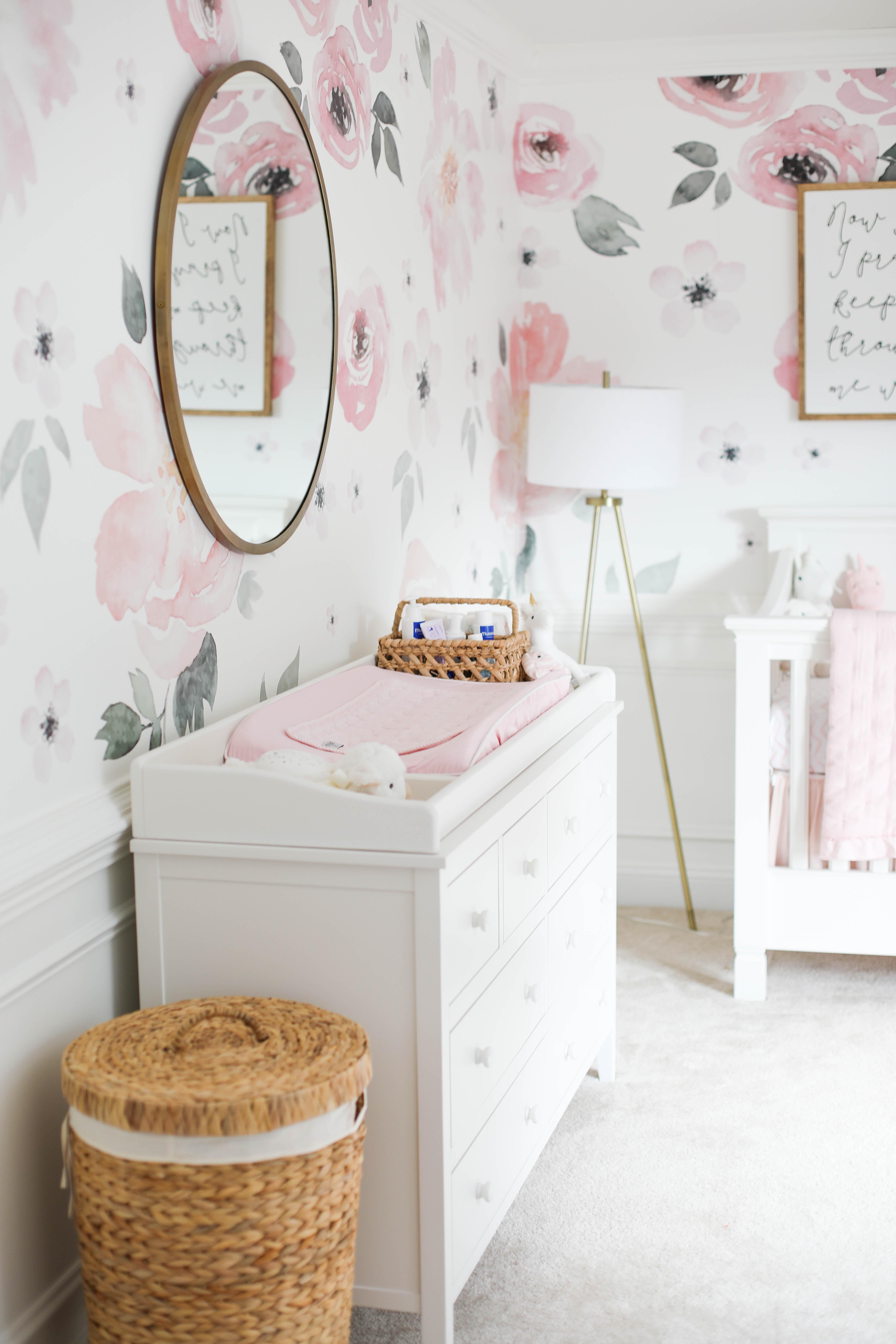 Baby Emma's pink floral nursery
