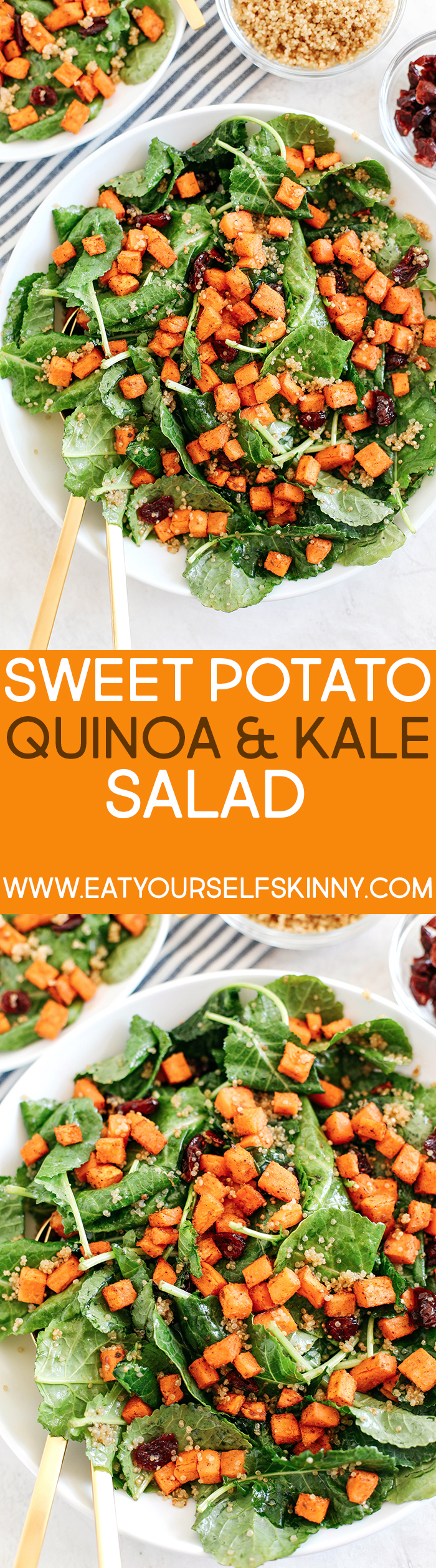This Roasted Sweet Potato, Quinoa and Kale Salad has all of my favorite ingredients in ONE single dish!  Perfect for lunches or an easy weeknight dinner!
