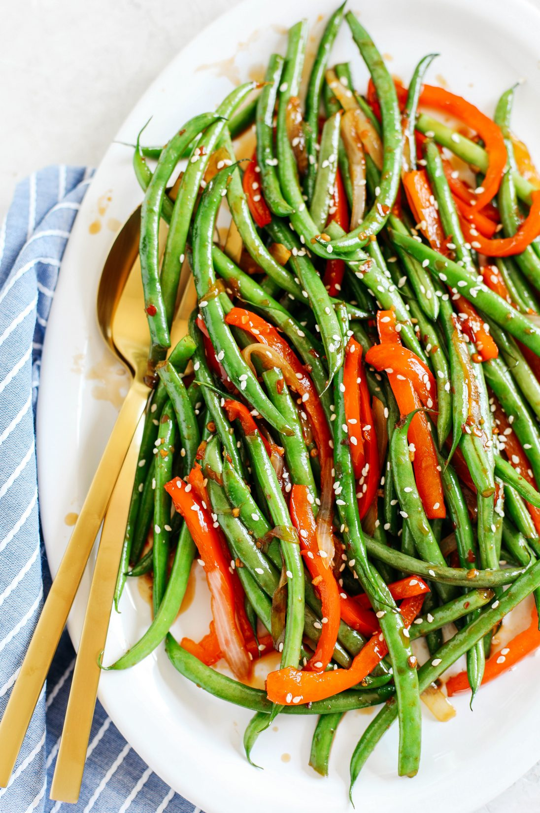 Ginger Soy Glazed Green Beans Amp Peppers Eat Yourself Skinny