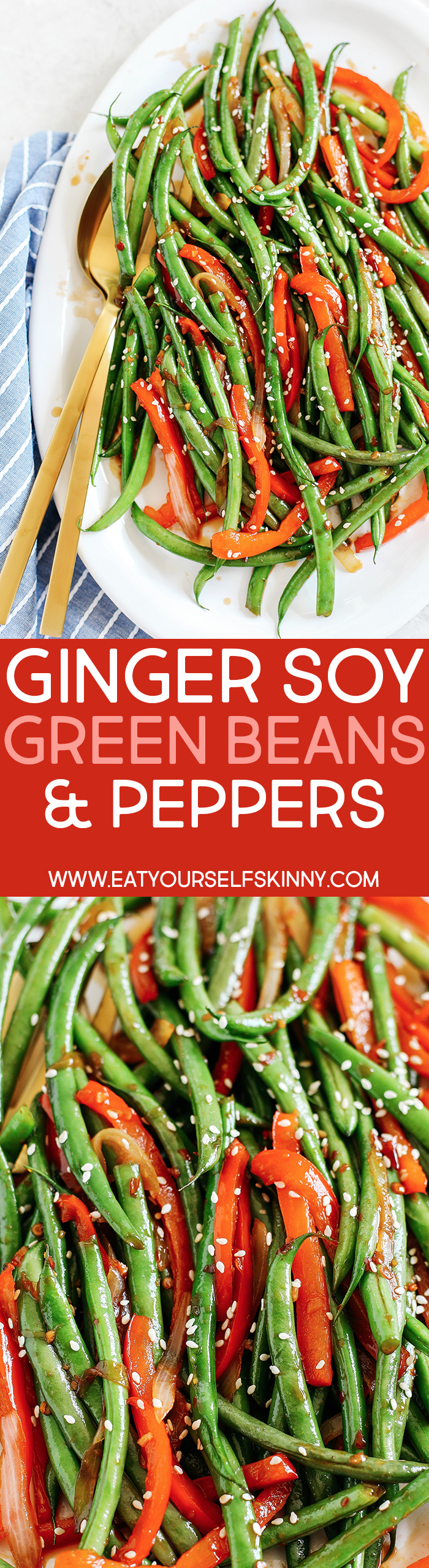 Delicious Ginger Soy Glazed Green Beans and Peppers make a quick and easy side dish that is full of flavor and tastes like you ordered them from your favorite Asian restaurant!