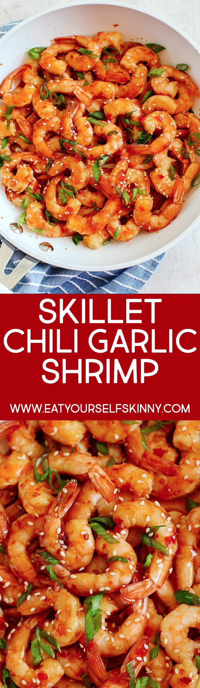 Sweet and flavorful Skillet Chili Garlic and Lime Shrimp that tastes amazing and is ready in just minutes!  Perfect as an appetizer, on top of a salad or even as a main dish!