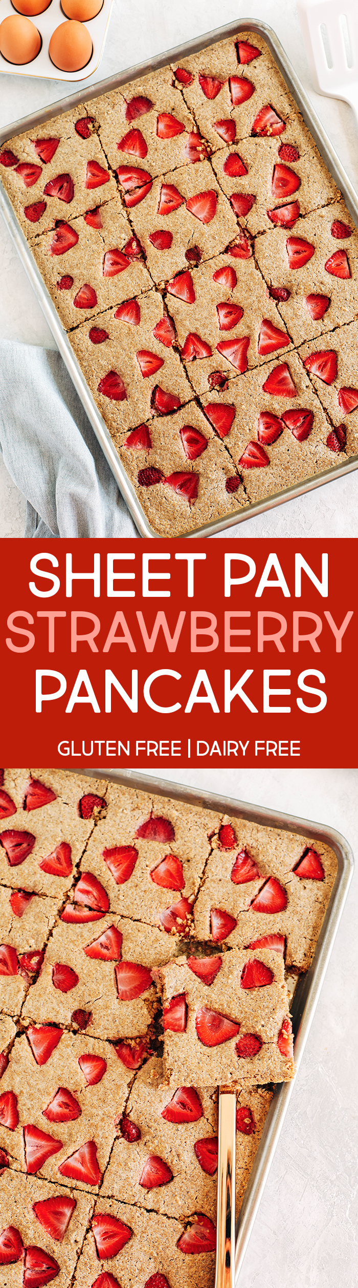 These quick and easy Sheet Pan Strawberry Pancakes are the best way to make a bunch of pancakes all at once and are ready in just 15 minutes!  Gluten free and perfect for a crowd!