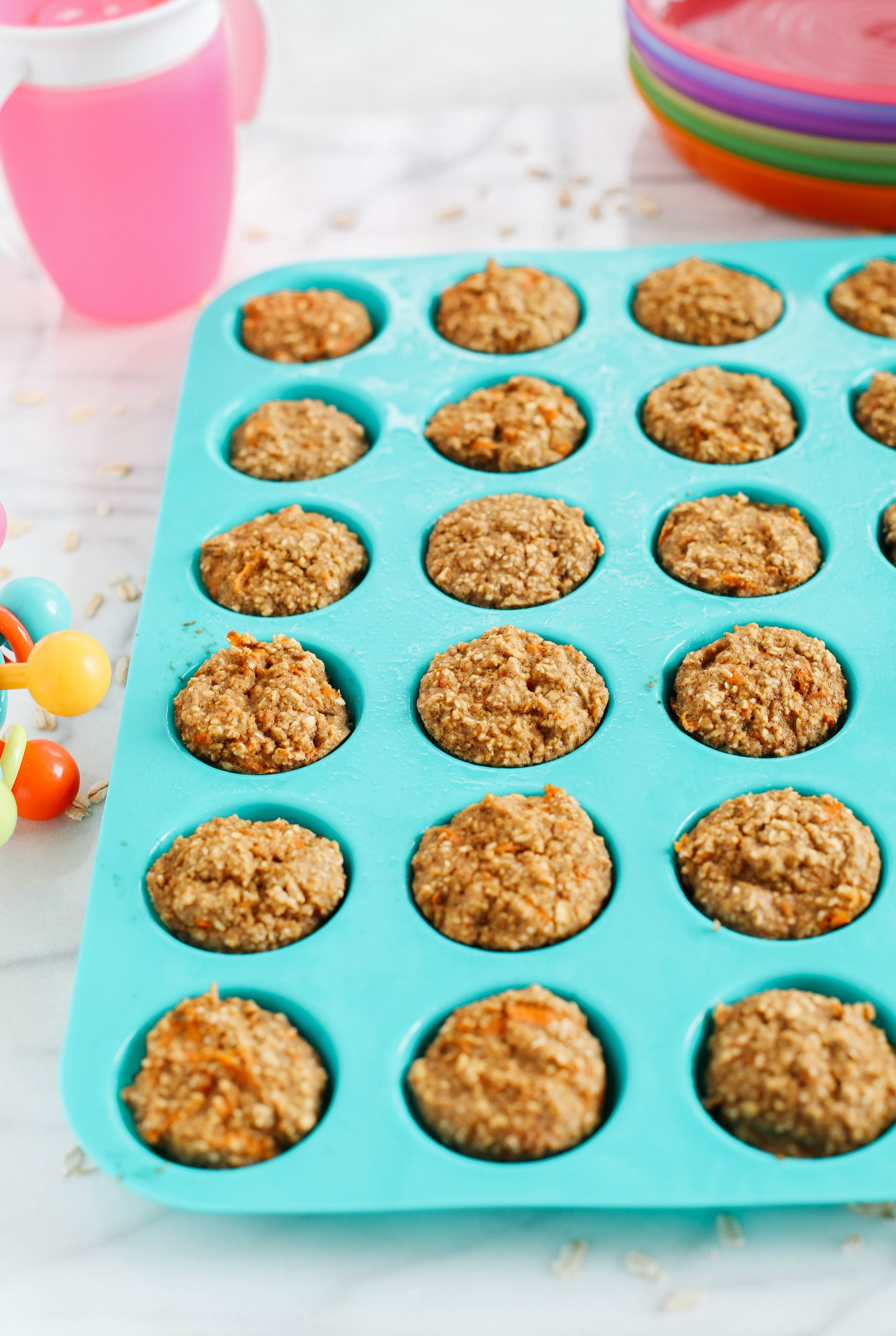 These bite-sized muffins are healthy, nutritious and the perfect way to use up leftover jars of baby food!  No added sugar and your little ones will love them!