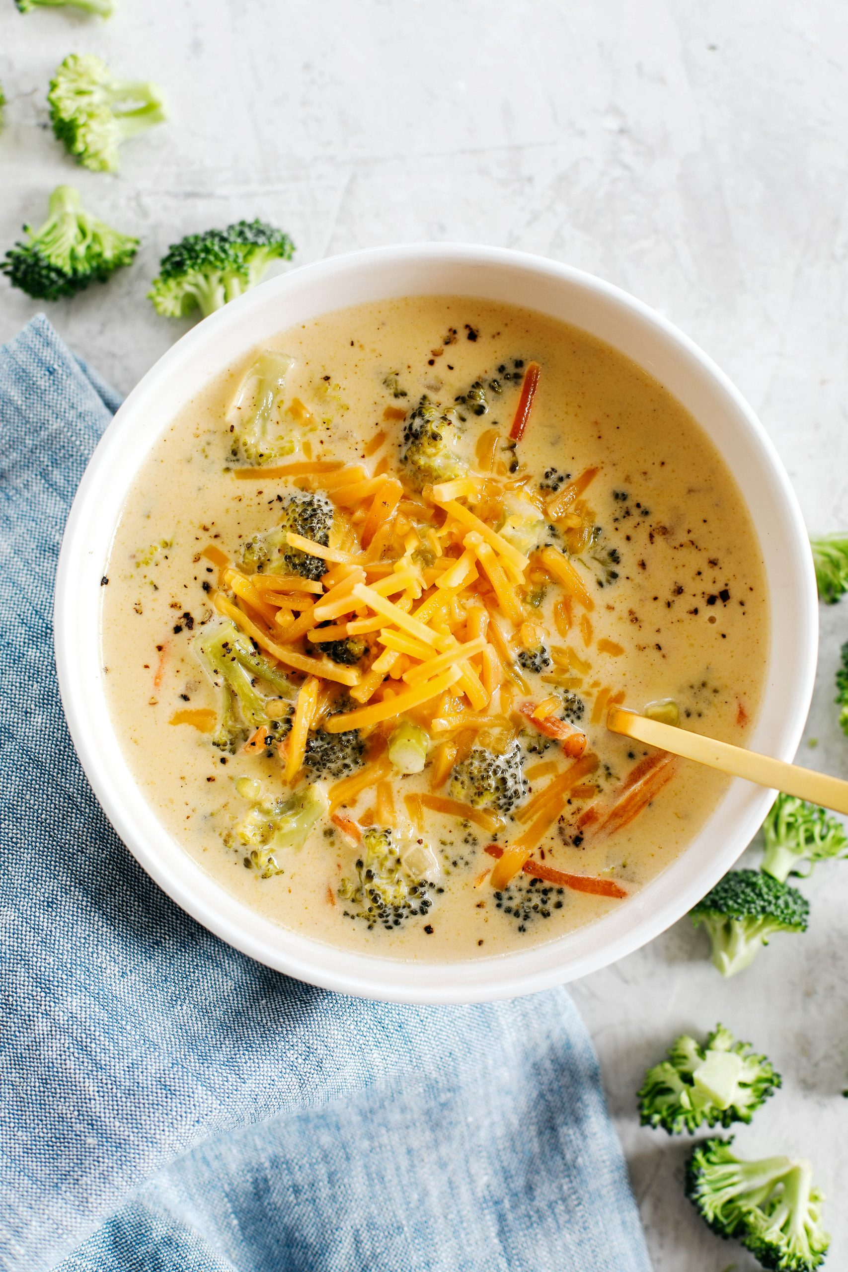 This Creamy Broccoli Cheddar Soup makes the perfect low carb comfort dish that is delicious, packed with veggies and made all in one pot in under 30 minutes!